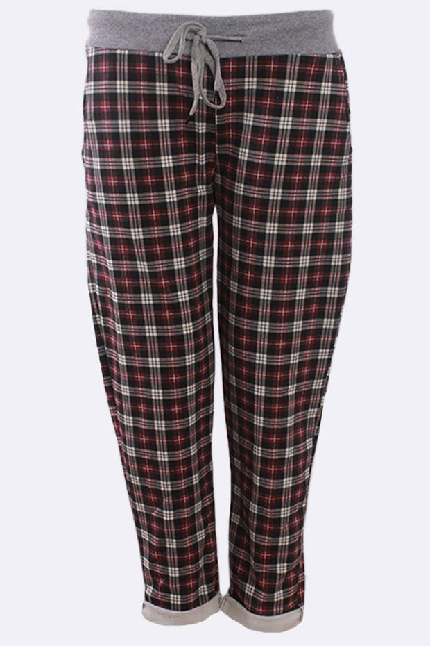 Keeley Check Print Drawstring Lined Trouser - Love My Fashions - Womens Fashions UK