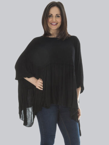 ALEX Womens Quirky Layered Batwing Smock Top - Love My Fashions - Womens Fashions UK