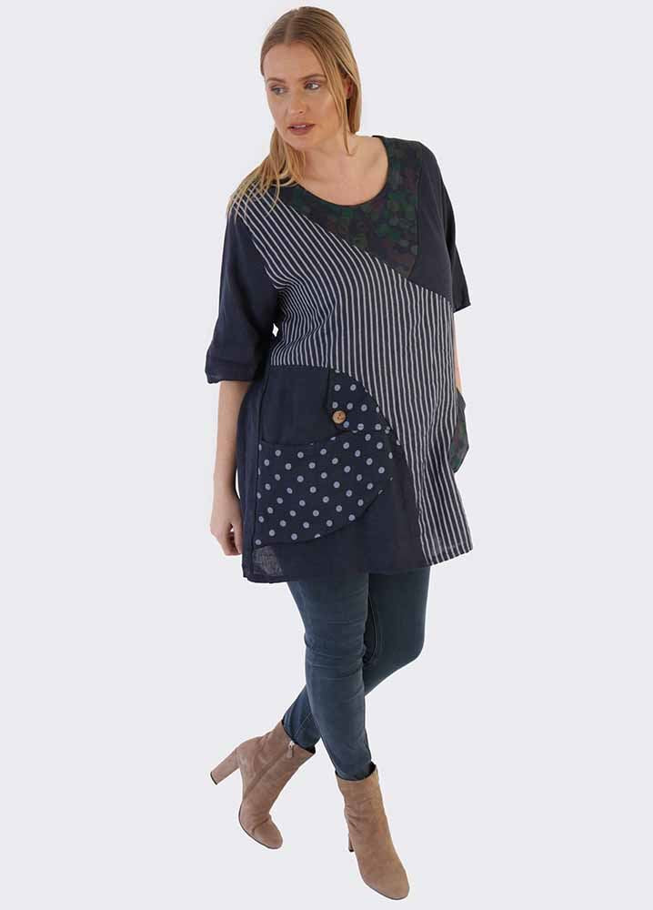 Isobel Linen Mixed Patchwork Top - Love My Fashions - Womens Fashions UK
