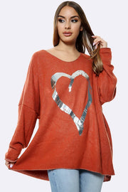 Italian Foil Heart Print Tunic Top