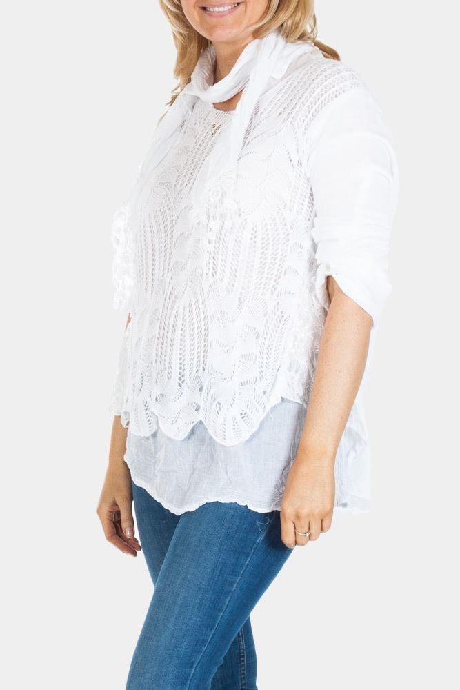 Amelie Sequin Crochet Scarf Top - Love My Fashions - Womens Fashions UK