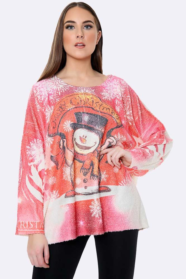 Italian Fluffy Xmas Snowman Merry Christmas Print Top