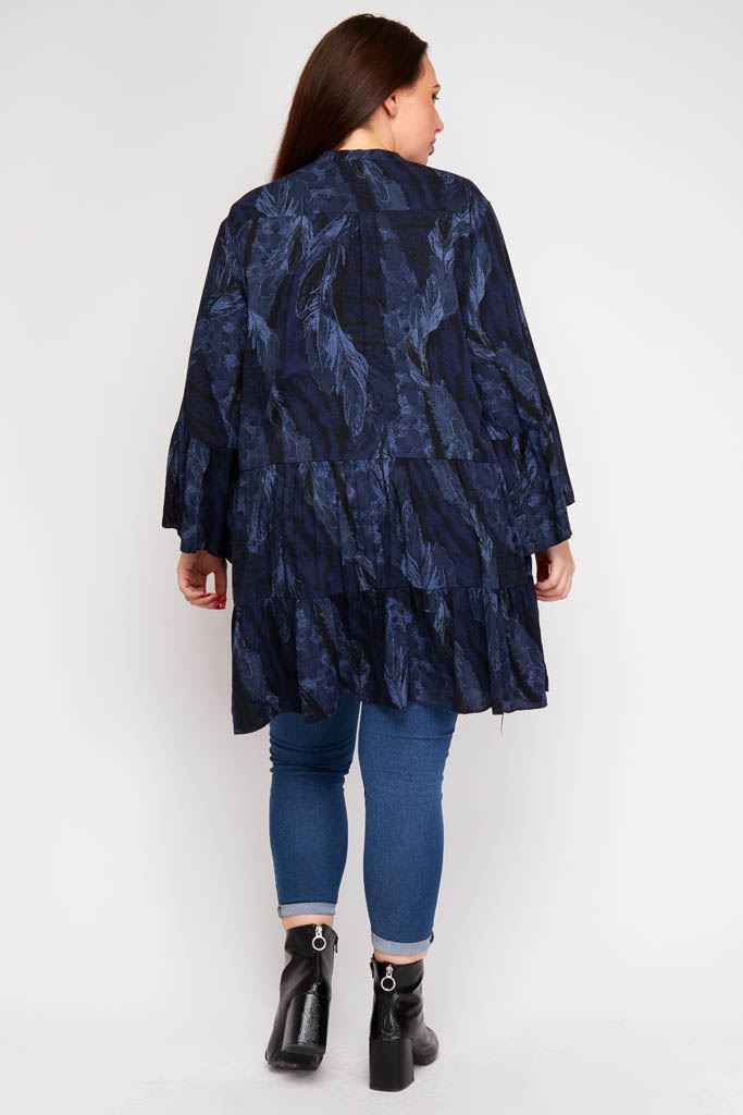 Wiktoria Feather Animal Print Tunic Top - Love My Fashions - Womens Fashions UK