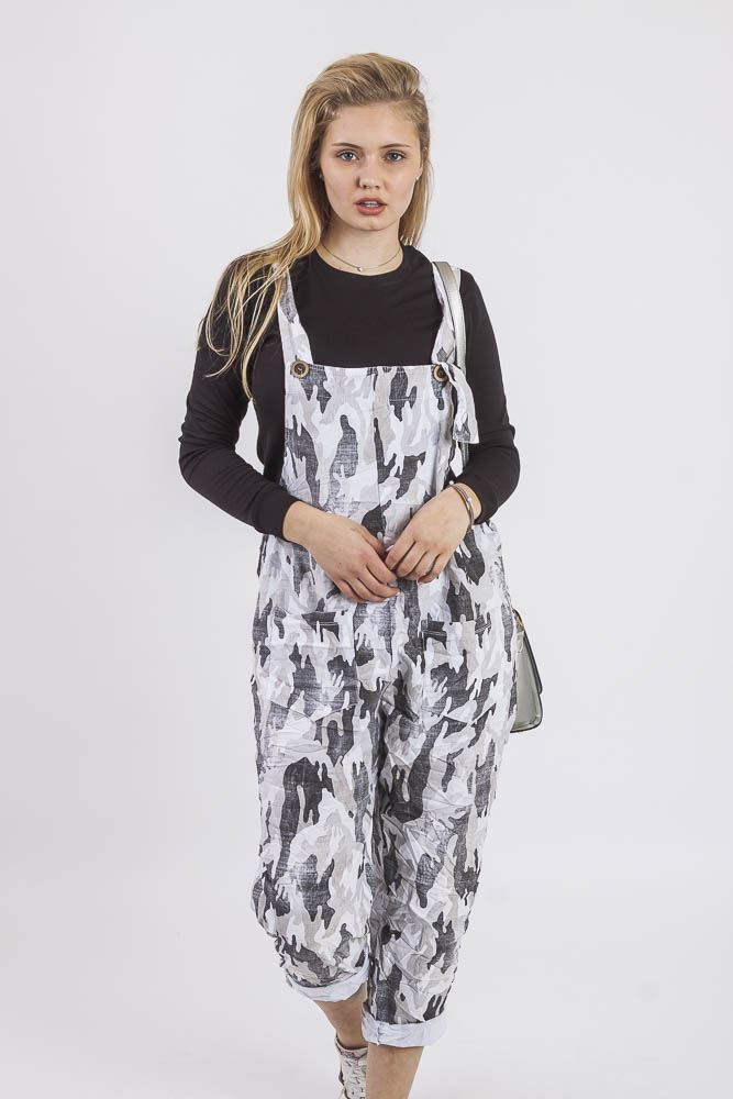 Jada Cotton Camouflage Stretch Dungaree - Love My Fashions - Womens Fashions UK