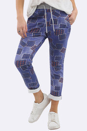 Stephany Tartan Patches Print Drawstring Trouser - Love My Fashions - Womens Fashions UK