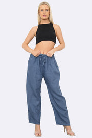 Italian Wide Leg Elasticated Waist Linen Trousers
