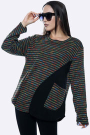Italian Colourful Waffle Pattern Pocket Top