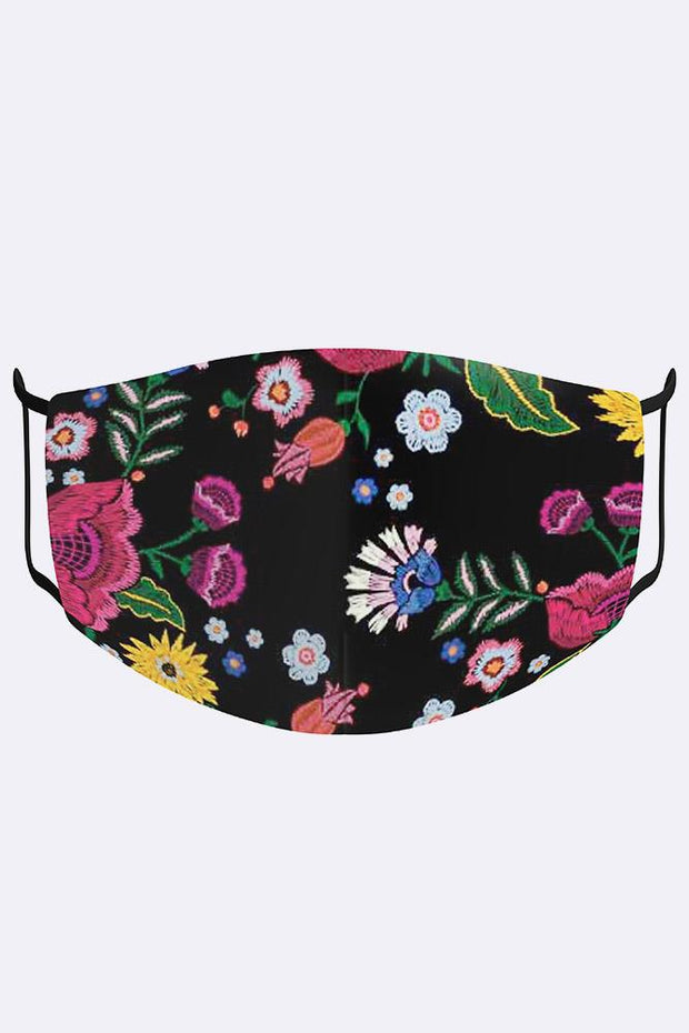 Unisex Colourful Floral Print Digital 2 Ply Cotton Face Mask Cover