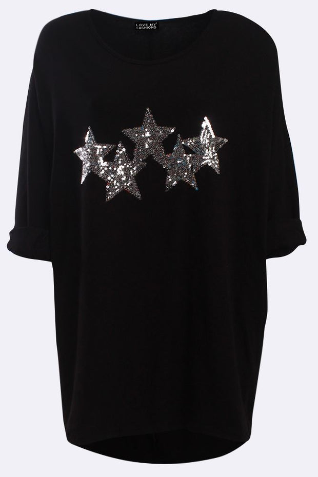 Madison Italian Sequin Star Pattern Dipped Hem Top - Love My Fashions - Womens Fashions UK