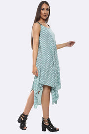 SLEEVELESS SPOT PRINT HANKY DRESS