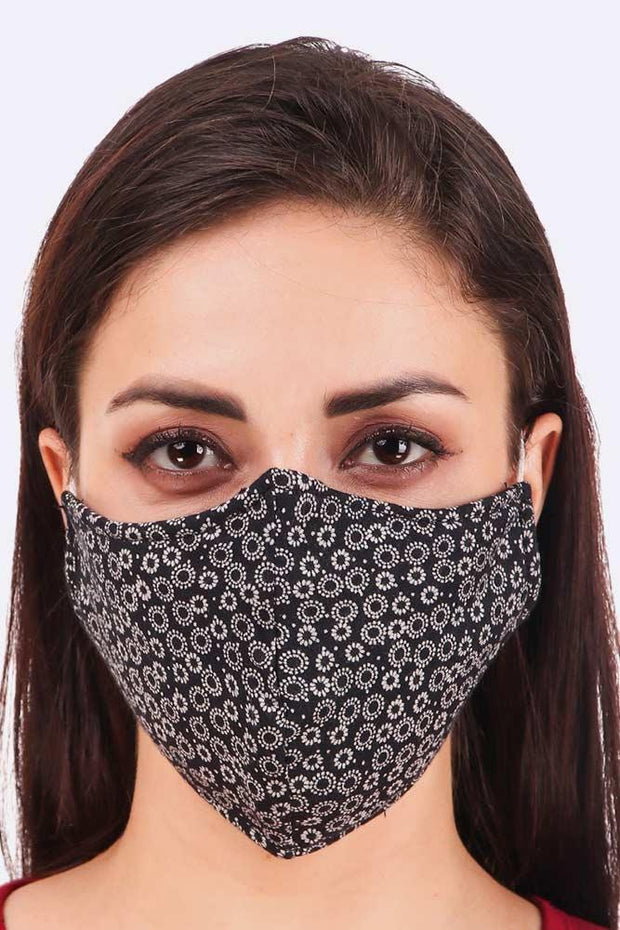 Mini Floral Circle Print Face Mask