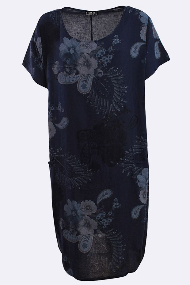 Skye Italian Cotton Flower Leaf Print Short Sleeve Pocket Dress