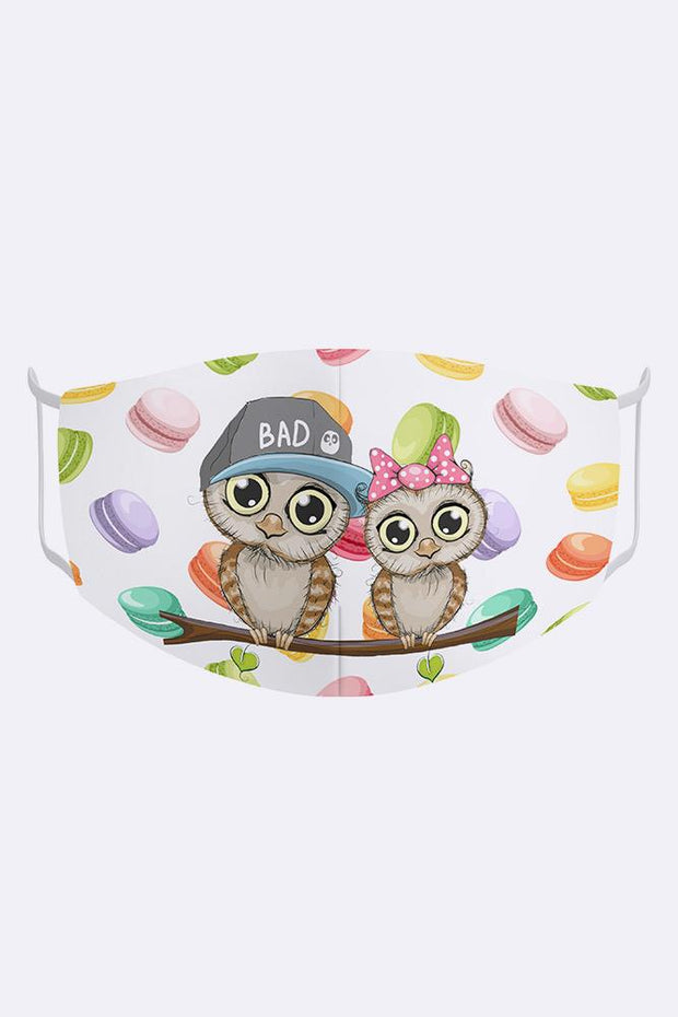 Kids Cute Owl Couple 2 Ply Digital Print Cotton Face Mask