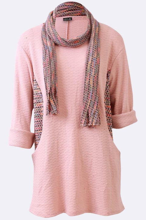 Carys Multi Textured Side Patched Scarf Top