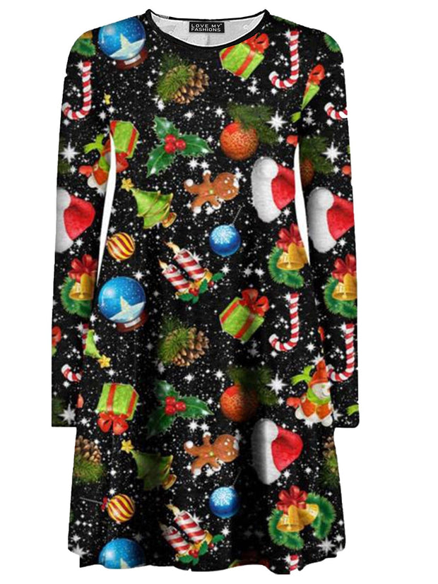 Christmas Digital Print Swing Dresses