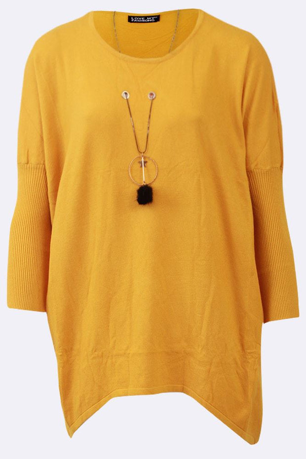 Alba Plain Eyelet Star Necklace Step Hem Jumper - Love My Fashions - Womens Fashions UK