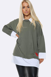 Italian Plain Mock Shirt Jumper Top