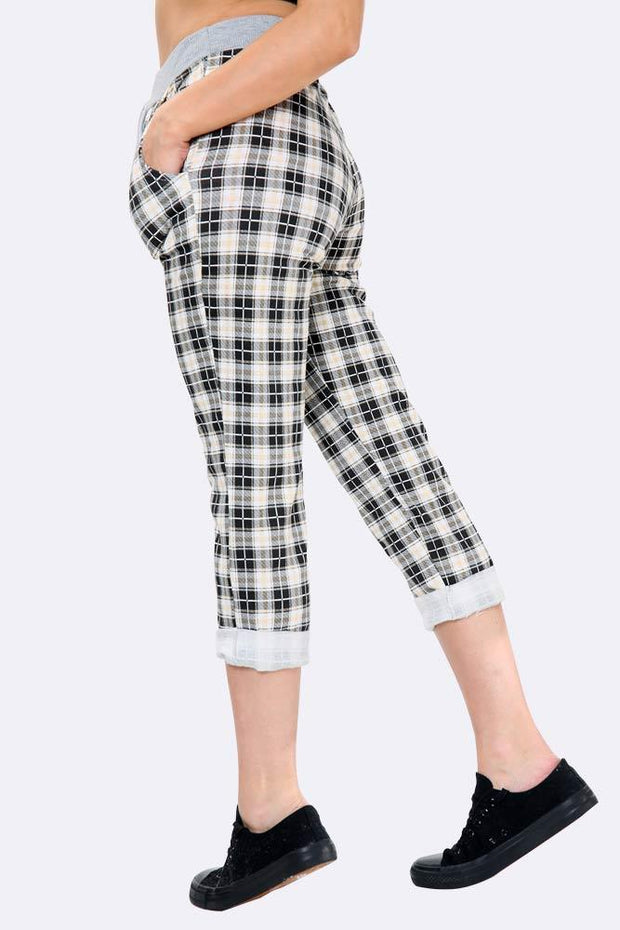 Small Tartan Print Ladies Joggers