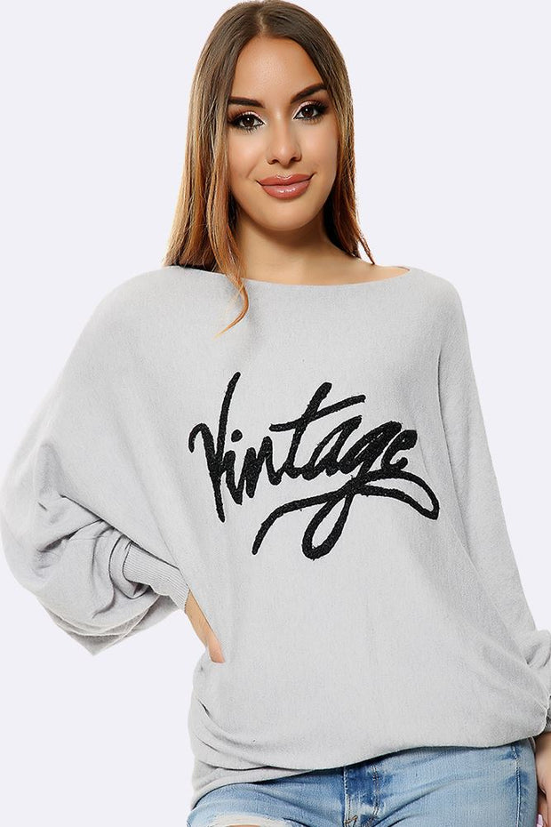 Italian Vintage Pattern Soft Knit Oversized Top
