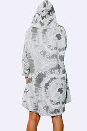 Italian Tie Dye Print Hooded Top