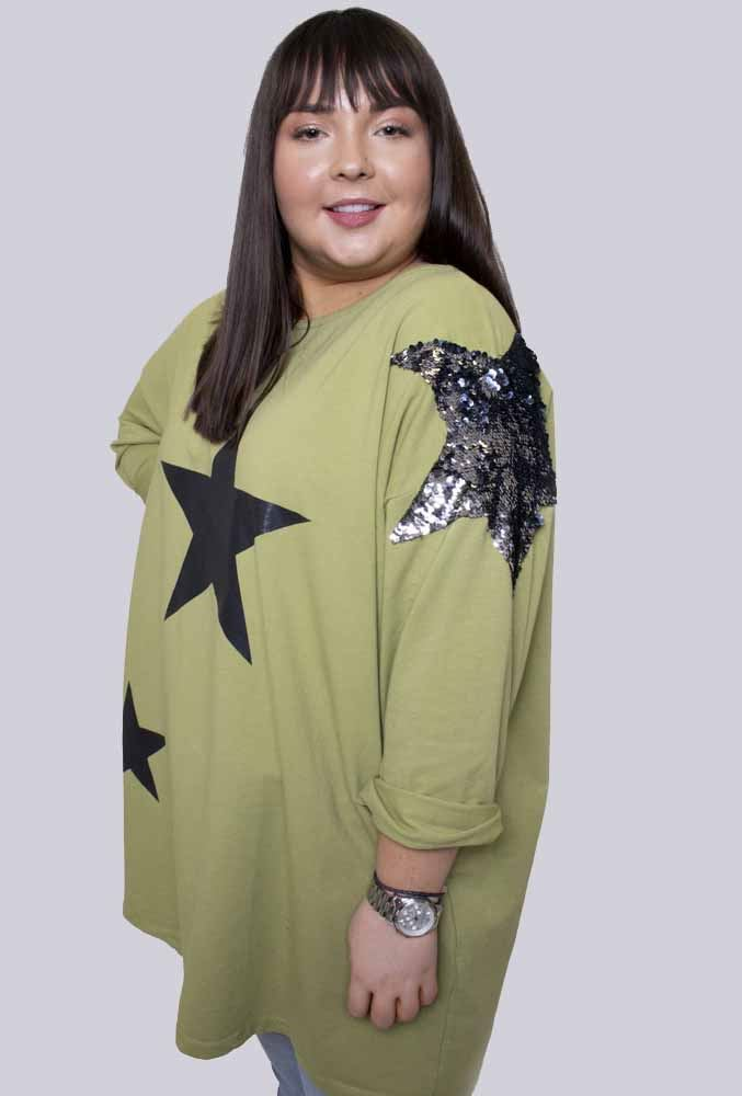 Elsie Cotton Sequin Star Shoulder Top - Love My Fashions - Womens Fashions UK