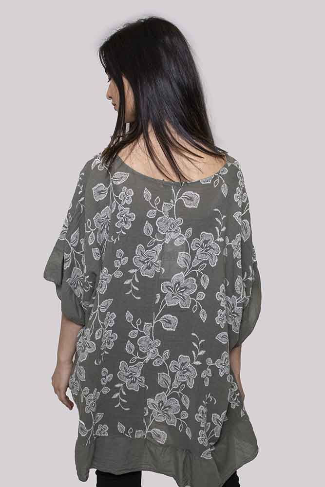 Eloise Linen Floral Contrast Hem Top - Love My Fashions - Womens Fashions UK