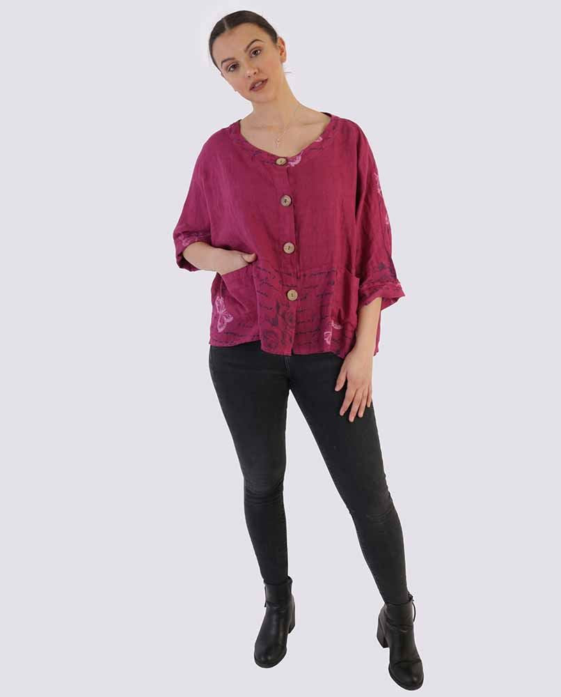 Victoria Button Front Text Panel Top - Love My Fashions - Womens Fashions UK