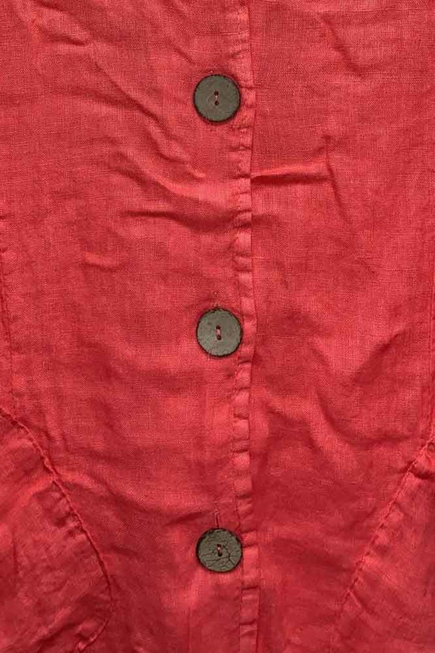 Italian Drawstring Hem Button Top