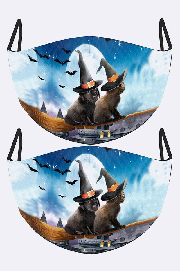 Cat Dog Witches Print Face Mask Cover