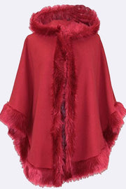 Josephine Faux Fur Trim Hooded Capes Ponchos Coat - Love My Fashions - Womens Fashions UK
