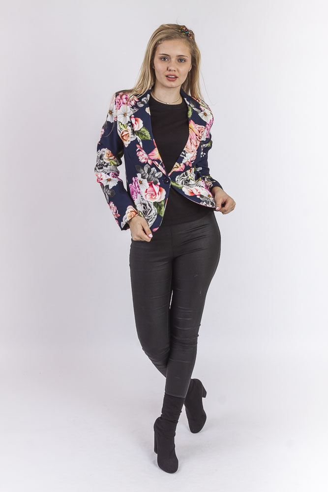 Blanca Floral Rose Single Button Blazer - Love My Fashions - Womens Fashions UK