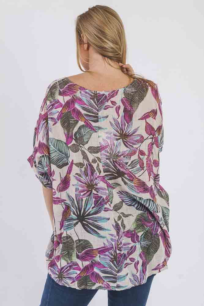 Essence Linen Palm Print Top - Love My Fashions - Womens Fashions UK
