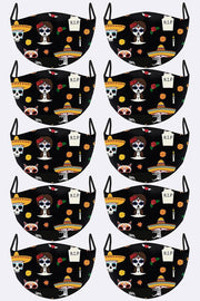 Sugar Skull Cartoon Print Face Mask Cover
