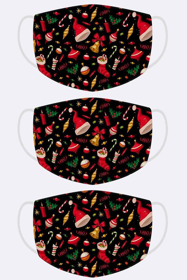 Xmas Santa Hat Bell Candy Candle Print Face Cover