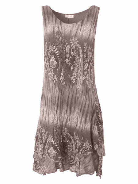 Eloise Paisley Print Textured Layered Dress - Love My Fashions - Womens Fashions UK