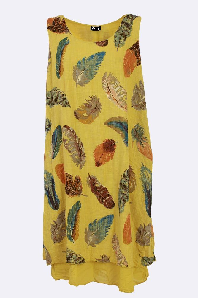 America Cotton Feather Print Layered Sleeveless Midi Dress - Love My Fashions - Womens Fashions UK