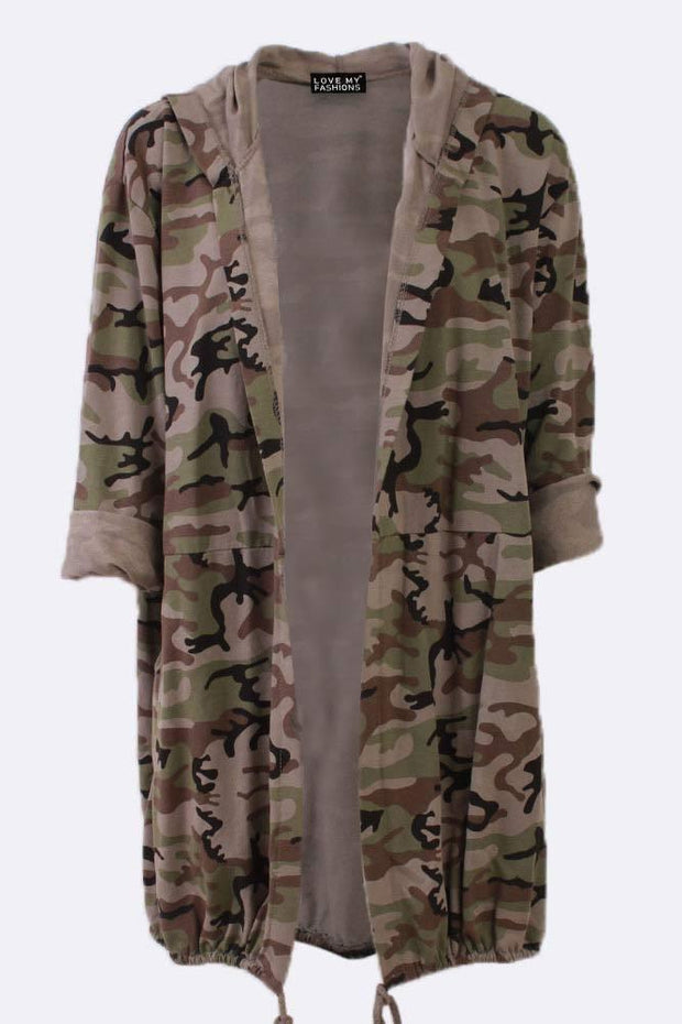 Jaelyn Cotton Camouflage Print Bubble Hem Hooded Cardigan - Love My Fashions - Womens Fashions UK