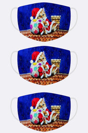 Christmas Santa Cat Print Xmas Face Mask Cover