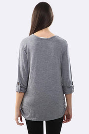 Harmony Plain Ruched Side Long Sleeve Button-up Tunic Top - Love My Fashions - Womens Fashions UK