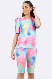 Tie Dye Splash Print Ruched Sleeve Gym Suit_grwo