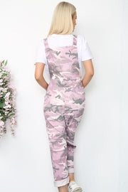 Italian Camo Stretch Stud Fastening Dungarees