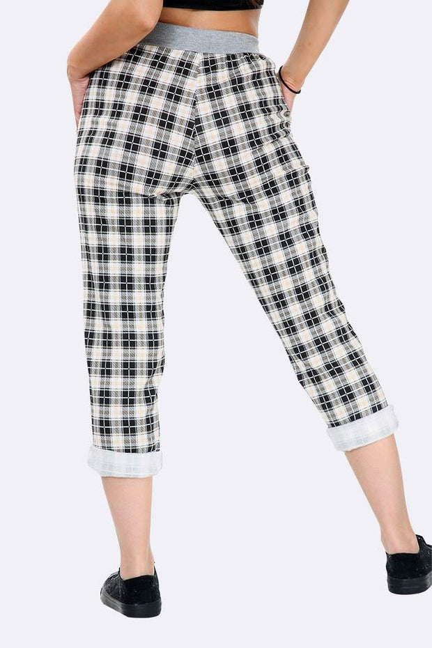 Italian Small Check Print Trousers