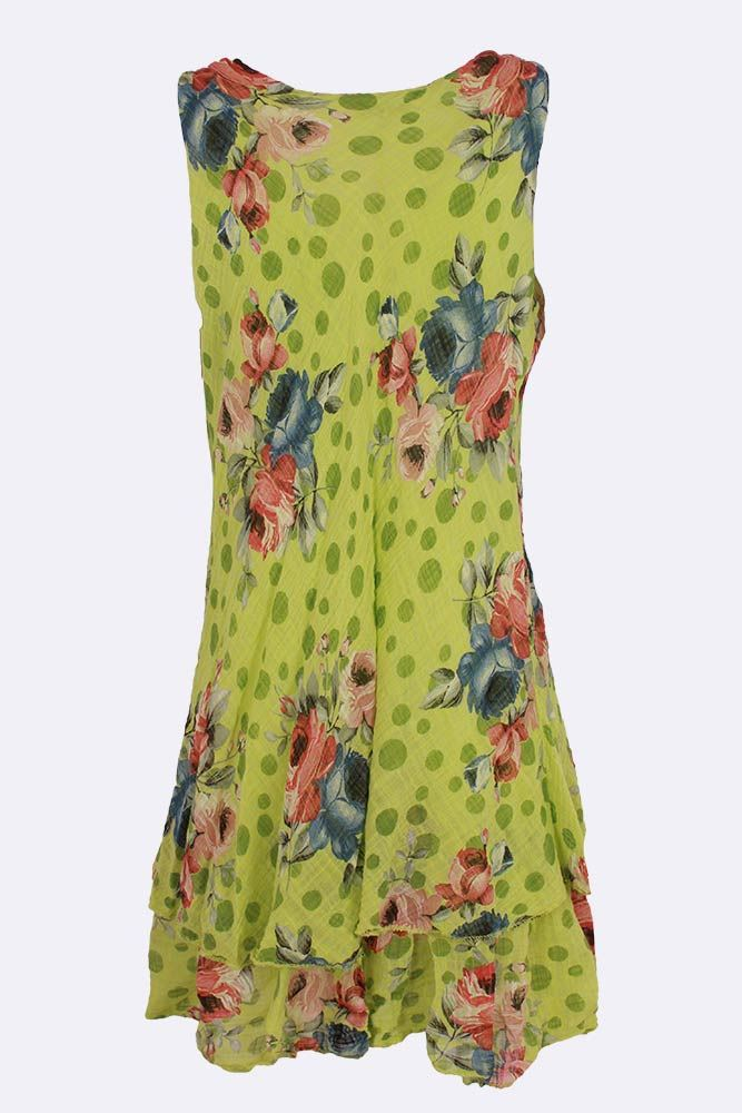 Isla-rose Sleeveless Rose Print Flared Dress - Love My Fashions - Womens Fashions UK
