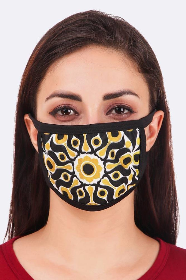 Abstract Yellow Flower Print Cotton Fashion Face Masks Cover