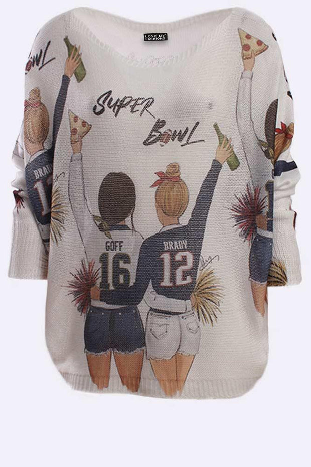Naomi Super Bowl Slogan Print Baggy Jumper