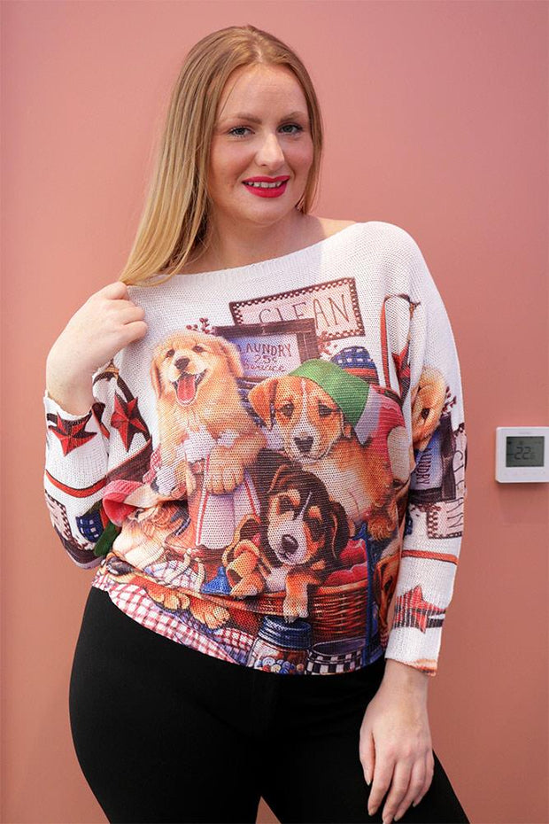 Nevaeh Laundry Service Slogan Print Baggy Jumper - Love My Fashions - Womens Fashions UK
