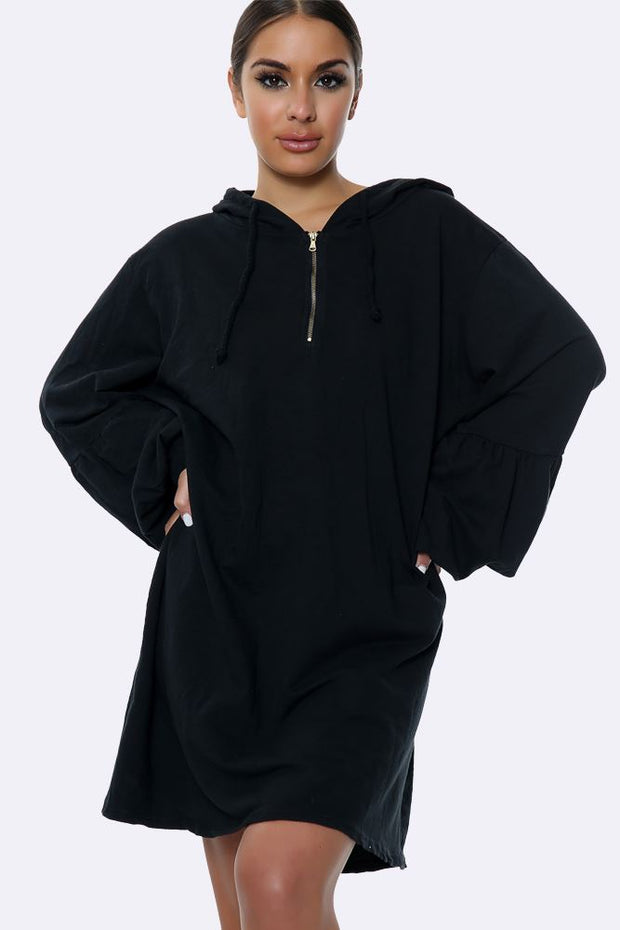 Longline Hooded Zip Neck Top