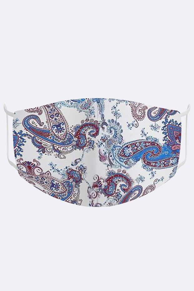 Blue Paisley Print Digital 2 Ply Cotton Face Mask Cover