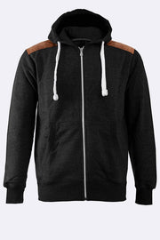 Mens Patched Zipped Hoodie