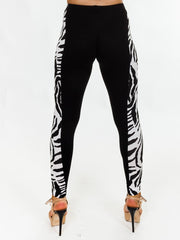 Lyla Zebra Print Side Panel Black Legging - Love My Fashions - Womens Fashions UK